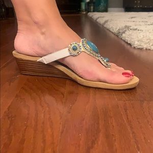 """Cynthia Rowley Shoes - Turquoise with gold embellishment, 1-3/4"""" wedge."""